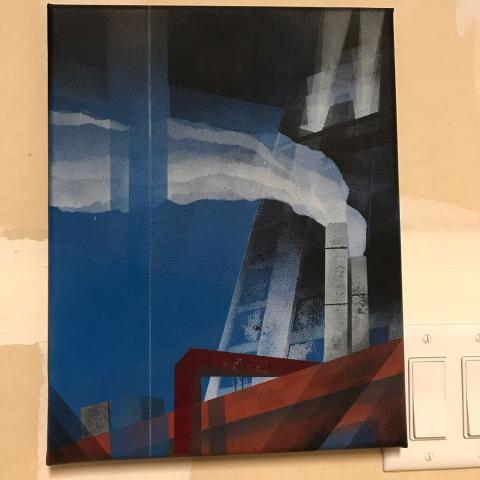 Spray paint painting of the 1600 Glenarm tower over the top of the Kittredge Building in Denver
