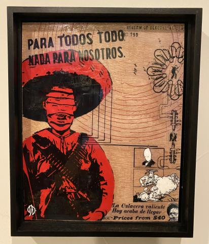 Mixed media painting on board depicting a zapatista soldier overlain by other drawings