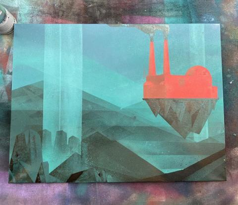 Spray paint painting of a factory on a floating island