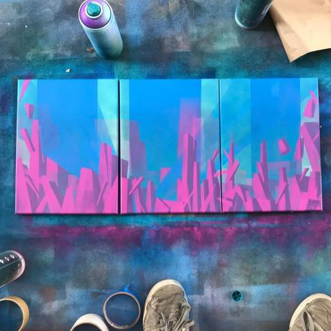 Spray paint on canvas triptych painting of architectural graffiti