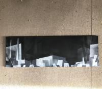Spray paint cityscape painting