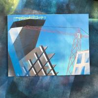 Spray paint on canvas painting of a building under construction at the corner of 15th and Welton, Denver