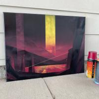 Spray paint on canvas painting of a fictional landscape