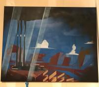 Spray paint painting of smokestacks towering over a landscape